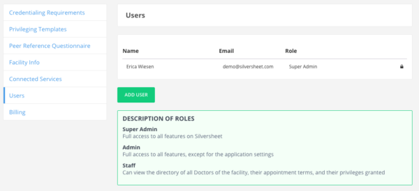 Adding Users Section