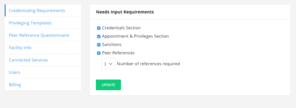 Credentialing Requirements Section