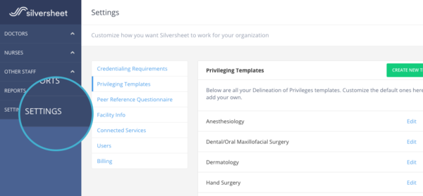 Credentialing Facility Settings